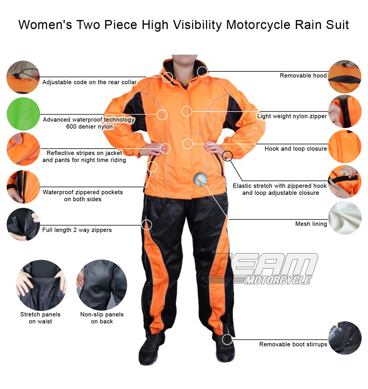 limited price cheap prices sells Women's Two Piece High Visibility Motorcycle Rain Suit
