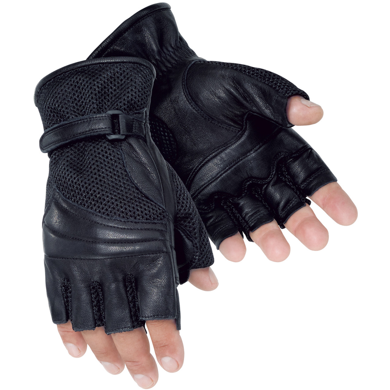 Indian Motorcycle Mens Leather Fingerless Gloves 4XL Black