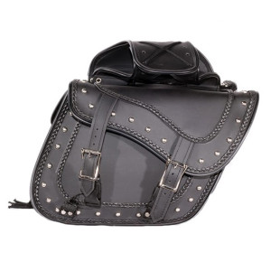 Braided and Studded Motorcycle Saddlebags