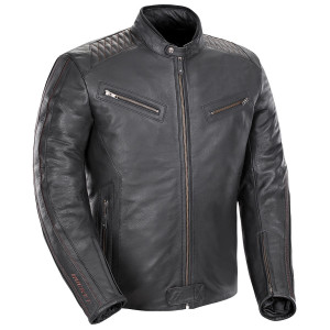 Joe Rocket Vintage Rocket Mens Leather Motorcycle Jacket - Black
