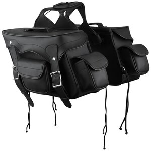 Jafrum SD2057 Black Motorcycle Saddlebags for Honda Yamaha Kawasaki Indian and Harley Davidson Motorcycles