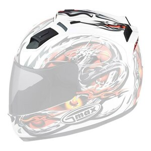 GMax GM68S Dragon Helmet Top Vent with LED Light-White/Red