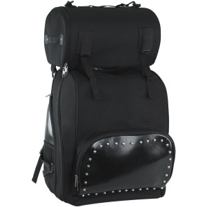 Vance VS1354 Black Studded Large Deluxe Motorcycle Luggage Travel Touring Sissy Bar Bag