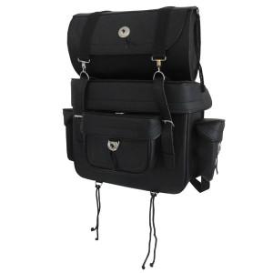 Vance SB2 Plain Black Large Biker Motorcycle Travel Luggage Sissy Bar Bag