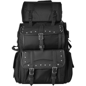 Vance VS34 Black Plain and Studded Large Heavy Duty Deluxe Motorcycle Luggage Travel Sissy Bar Bag  - Studs