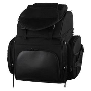Vance VS345 Black Nylon Deluxe Motorcycle Luggage Travel Touring Bag Sissybar Bag
