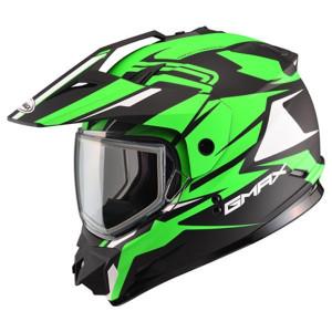 GMax GM11S Vertical Hi-Viz Snow Sport Helmet-Black/Green