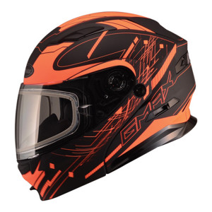 GMax MD01 Wired Hi-Viz Snow Modular Helmet - Black Orange