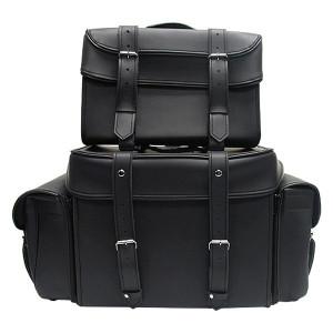 Vance SB3 Plain Black Premium Large Motorcycle Luggage Travel Touring Sissy Bar Rack Bag