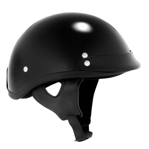 Skid Lid Traditional Black Motorcycle Half Helmet