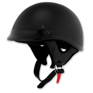 Skid Lid Traditional Flat Black Motorcycle Half Helmet