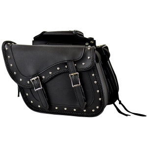 Motorcycle Saddlebags with Braids and Studs
