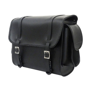 Vance VS320 Medium Black Braided Motorcycle Sissy Bar Bag for Harley Davidson Motorcycles
