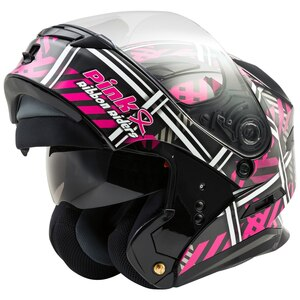 Gmax MD01 Pink Ribbon Riders Modular Helmet - Open-View