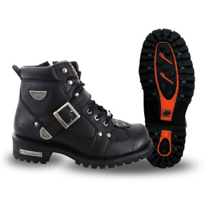 Mens Milwaukee Motorcycle Clothing Company MMCC Road Captain Motorbike Biker Riding Black Leather Boots