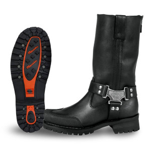 Mens Milwaukee Motorcycle Clothing Company MMCC Drag Harness Motorbike Biker Riding Black Leather Boots