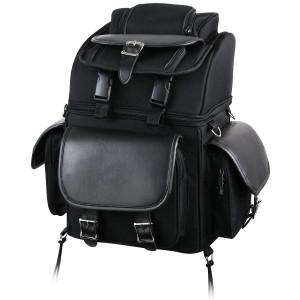 Vance SB521 Black Five Large Outer Pocket Motorcycle Luggage Touring Travel Sissy Bar Rack Bag