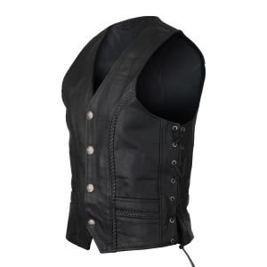 High Mileage HMM908 Mens Black Straight Bottom Motorcycle Leather Vest With Buffalo Nickel Snaps
