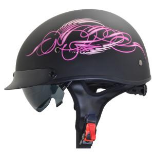 Vega Warrior Pink Scroll Half Helmet