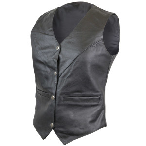 Vance VL1004S Womens Black V-Neck Lady Biker Leather Motorcycle Vest