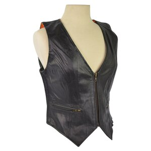 Women's Leather Vest with Stretchable Sides