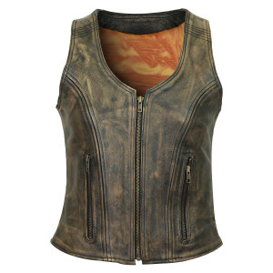 High Mileage HML1031DB Women's Vintage Distressed Brown Premium Cowhide Leather Motorcycle Vest