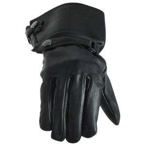 Vance GL2064 Mens Black Lined Biker Leather Motorcycle Gauntlet Gloves