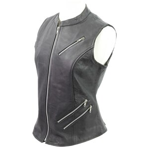 Vance VL1028 Womens Black Zipper Closure and Zipper Pocket Lady Biker Motorcycle Leather Vest