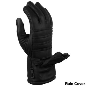 Vance GL2066 Mens Black Biker Motorcycle Leather Gloves With Rain Cover - Detail View
