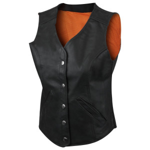 Women's Five Snap Leather Vest with Gun Pocket