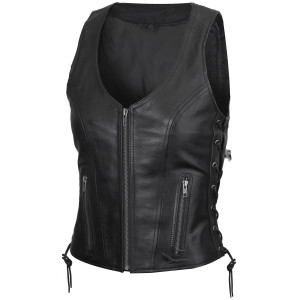 Vance VL1029 Women's Black Lace Side Zipper Pocket Premium Cowhide Leather Biker Motorcycle Vest