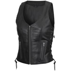 Vance VL1029 Women's Black Lace Side Zipper Pocket Premium Cowhide Leather Biker Motorcycle Vest