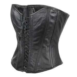 Ladies Premium Lambskin Open Front Leather Corset-Back-View