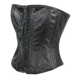 Womens Black Premium Soft Lambskin Open Front Leather Halter Top Corset - Back-View