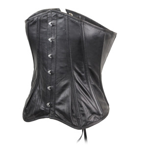 Womens Black Premium Soft Lambskin Fitted Leather Halter Top Corset