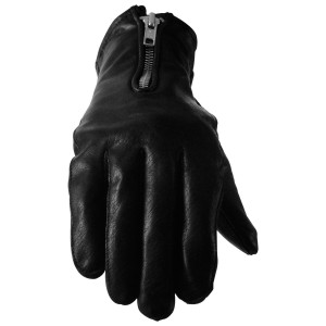 Vance GL2081 Womens Silver Zipper Black Cowhide Leather Motorcycle Gloves