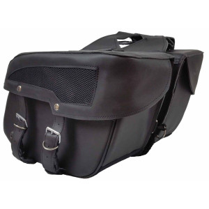 Slanted Leather Like Motorcycle Saddlebag
