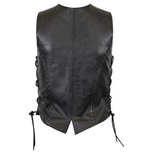 Women's Premium Cowhide Studded Leather Vest - Back View