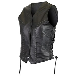 Vance VL1049 Womens Studded Black Cowhide Leather Lady Biker Motorcycle Vest