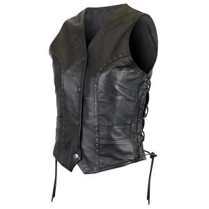 Vance VL1049 Womens Studded Black Cowhide Leather Lady Biker Motorcycle Vest