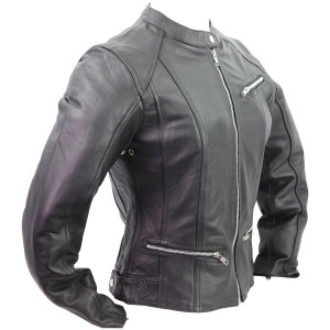 Vance Leather VL618 Women's Black Soft Cowhide Leather Silver Zipper Front Biker Motorcycle Riding Jacket