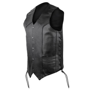MV315 Mens Black Tall Size Lace Side Biker Leather Motorcycle Vest