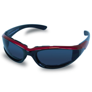Mens SG101 Dark Smoke Biker Motorcycle Sunglasses - Red