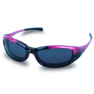 Mens SG102 Dark Smoke Biker Motorcycle Sunglasses - Fuchsia