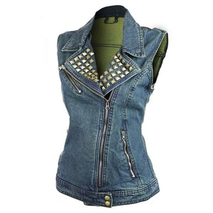 Vance VB1050BL Women's Blue Denim Motorcycle Vest With Studded Collar