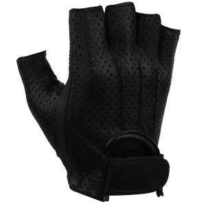 Vance GL2090 Mens Black Gel Palm Perforated Fingerless Biker Leather Gloves
