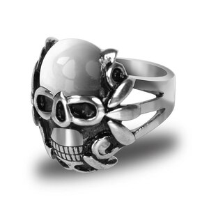 Stainless Steel Angel Skull Biker Ring
