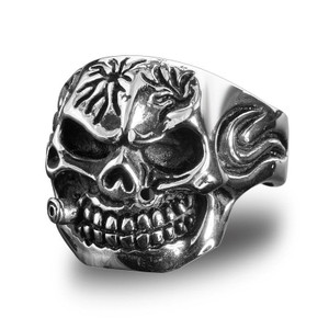 Stainless Steel Bite The Bullet Biker Ring