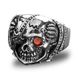 Stainless Steel Eye Patch Skull Biker Ring