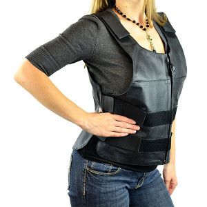 Women's Bullet Proof Style Leather Vest